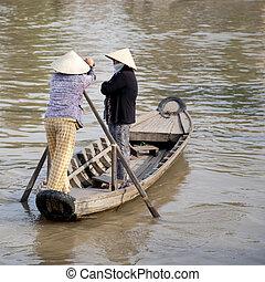 Ferry in Vietnam - Small ferry in the Mekong Delta, Vietnam