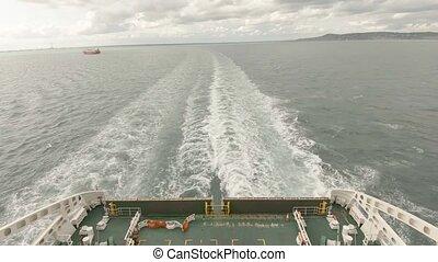 Ferry leaving Dublin harbour - Ireland.