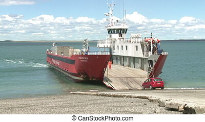 Ferry loading - Ferry loagind at Strait of Magellan, Chile...