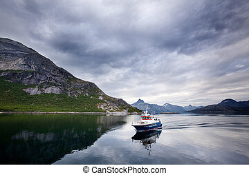 Ferry Norway - A small ferry in northern Norway on the ocean
