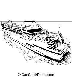 ferry-vector, dibujo, ilustración, mano