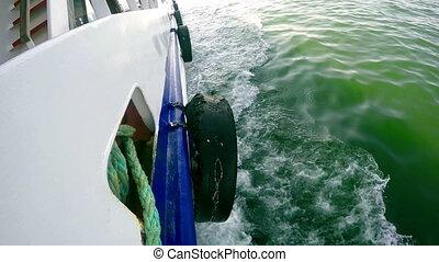 Ferryboat in the green sea