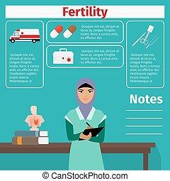 fertilité, équipement, docteur médical, icônes