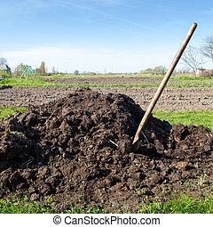 fertilizante, orgánico, montón
