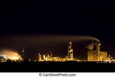 fertilizante, refinería, tiro, noche
