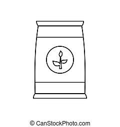 fertilizante, saco, ícone, estilo, esboço