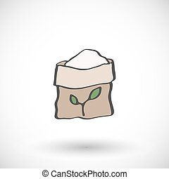 fertilizante, saco, icon., vetorial, illustration.
