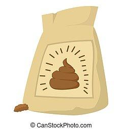 Fertilizer bag icon, cartoon style