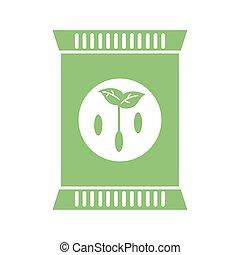 fertilizer bag icon, flat detail style