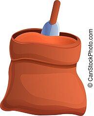 Fertilizer soil sack icon, cartoon style