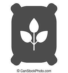 Fertilizer solid icon. Bag vector illustration isolated on white. Agriculture glyph style design, designed for web and app. Eps 10.