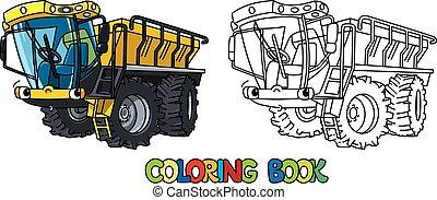 Fertilizer spreader car with eyes. Coloring book