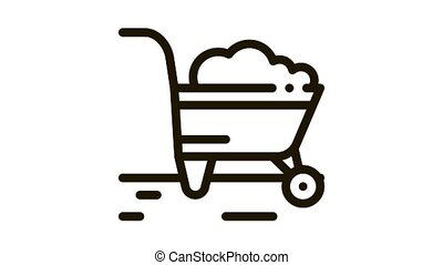 fertilizer trolley Icon Animation. black fertilizer trolley animated icon on white background