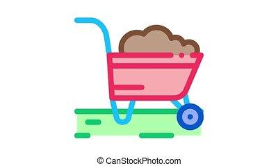 fertilizer trolley Icon Animation. color fertilizer trolley animated icon on white background