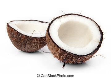 fesso, fondo, bianco, noce di cocco