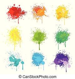 festék, elszigetelt, locsogás, fehér, vektor, háttér
