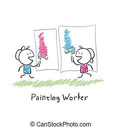festék, emberek, illustration., két, rollers.