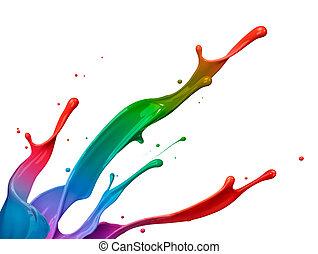 festék fröccsen, színes
