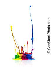 festék, fröcskölő, fehér, elszigetelt, színes