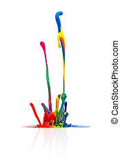 festék, fröcskölő, színes