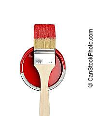 festék konzerv, szín, konzerv, ecset