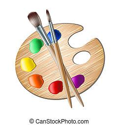 festék, paletta, művészet, ecset, rajz