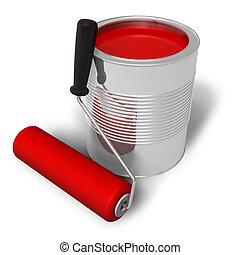 festék, piros csalit, hajcsavaró, konzerv