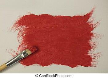 festék, piros, ecset