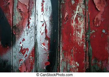 festék, piros, hámlás