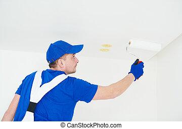 festék, plafon, festmény, hajcsavaró, szobafestő