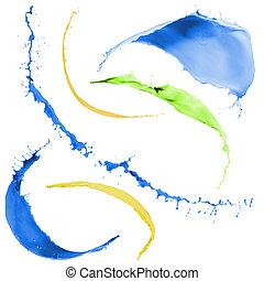 festék, színezett, loccsan