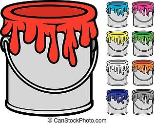 festék, vödrök, gyűjtés