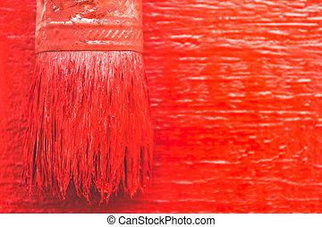 festék, works., girls., paint., ecset, festmény, piros, bizottság