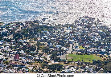 festői nézet, alatt, földfok város, asztal hegy, dél-afrika,...