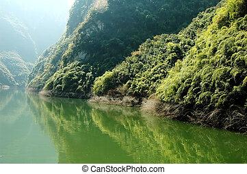 festői nézet, folyó, kína, yangtze