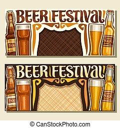 fest, banner, vektor, bier