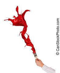 fest, brush., háttér, elszigetelt, fröcskölő, piros, ki, fehér