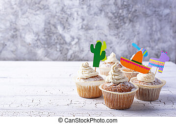 fest, cupcakes, mexikanisch, party, feiern