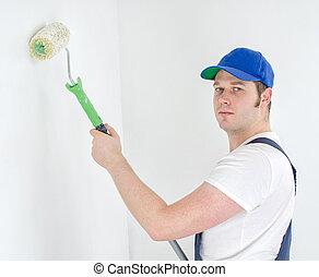 fest, egyenruha, szobafestő, wall.