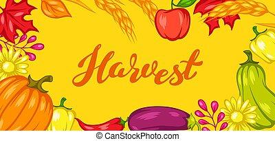 fest, ernte, vegetables., hintergrund, früchte