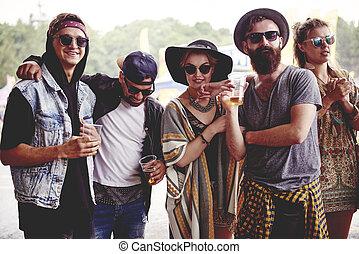 fest, friends, musik, modisch