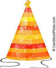 fest hatt, bakgrund, vit, apelsin