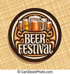 fest, logo, bier, vektor