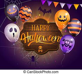 fest., lycklig, halloween, kort, inbjudan