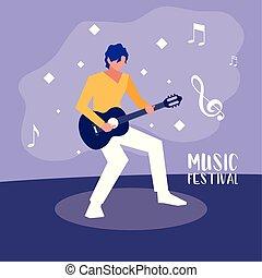 fest, plakat, gitarre, musik, spielende , mann