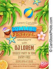fest, sommer, design, plakat
