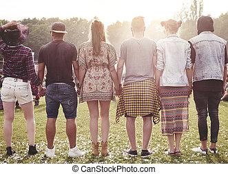 fest, sommer, friends, gruppe
