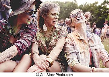 fest, sommer, mädels, glücklich