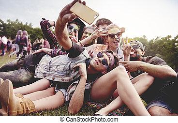 fest, sommer, selfie, friends, machen