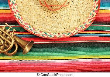 fest, trompete, hintergrund, mexiko